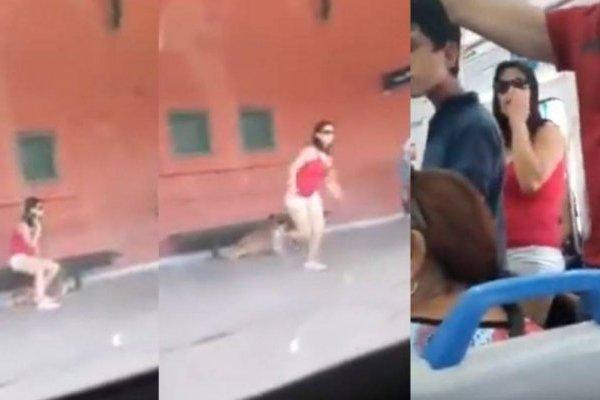 Exhiben a mujer que abandonó a perro en estación de tren