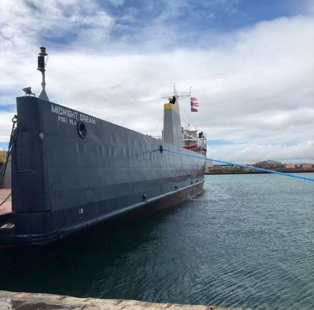 El buque que fue alquilado por el Departamento de Estado de Puerto Rico para la nueva entrega de suministros en Venezuela. Foto: Twitter @Juan Guaidó