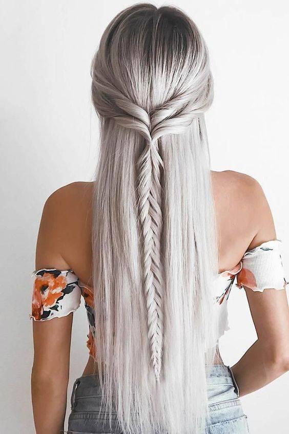 peinados con trenzas y cabello suelto