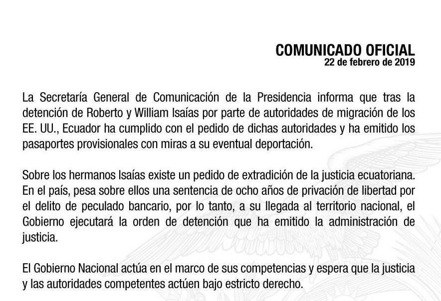 Ecuador emitió pasaportes provisionales a los hermanos Isaías con miras a su eventual deportación