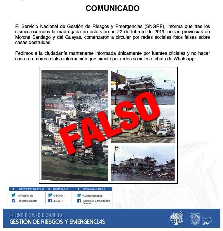 Información falsa sobre sismo en Ecuador