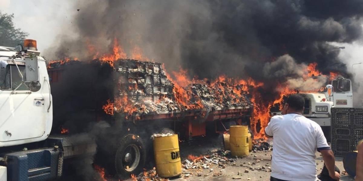 Destruyen ayuda humanitaria que llega a Venezuela