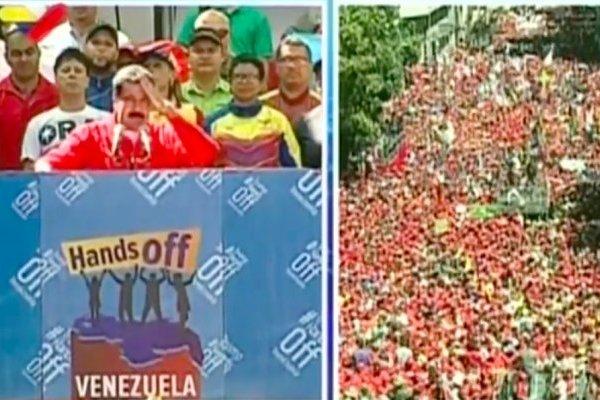 Nicolás Maduro habla ante multitud