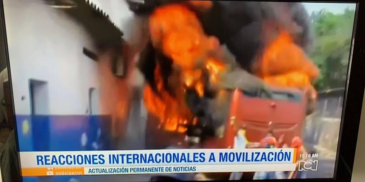 En Ureña quemaron un bus que terminó en una casa