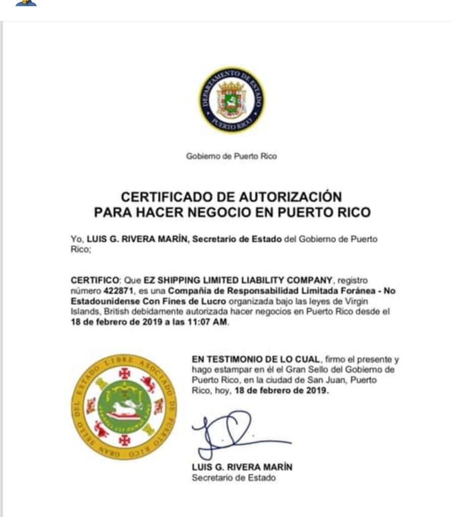 Certificación del Departamento de Estado a EZ Shipping