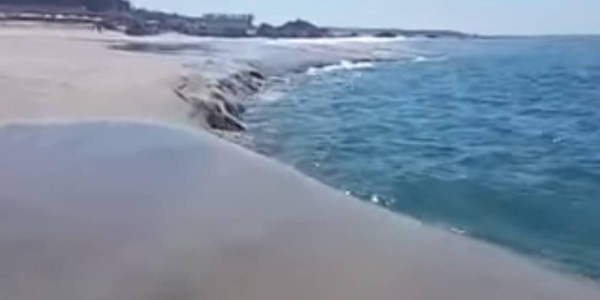¡Impactante! Se hunden playas de Puerto Escondido, Oaxaca