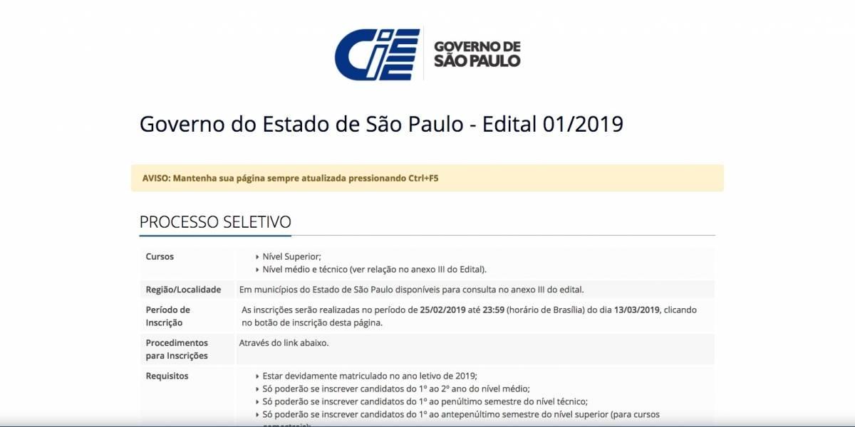 Governo de SP oferece vagas de estágio com salários de até R$ 1,8 mil; veja como se inscrever