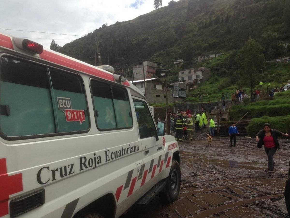 Deslizamiento de tierra en Conocoto Fotos Ecu911