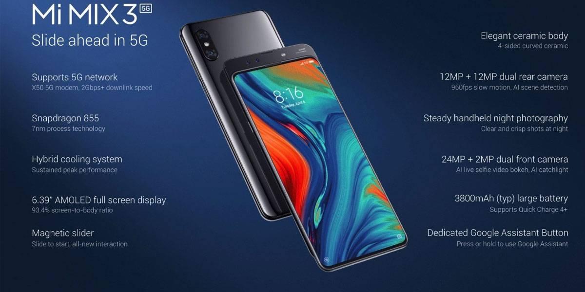 El Mi Mix 3 5G es el primer smartphone de Xiaomi que soporta redes 5G