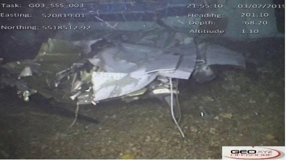 Restos de la avioneta en la que viajaba el futbolista argentino Emiliano Sala