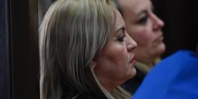 """Audiencia de apertura a juicio del caso """"La Sexta"""", en el cual está señalada Sara Elizabeth Cruz, esposa de """"el Taquero"""", por la muerte de Byron Lima."""