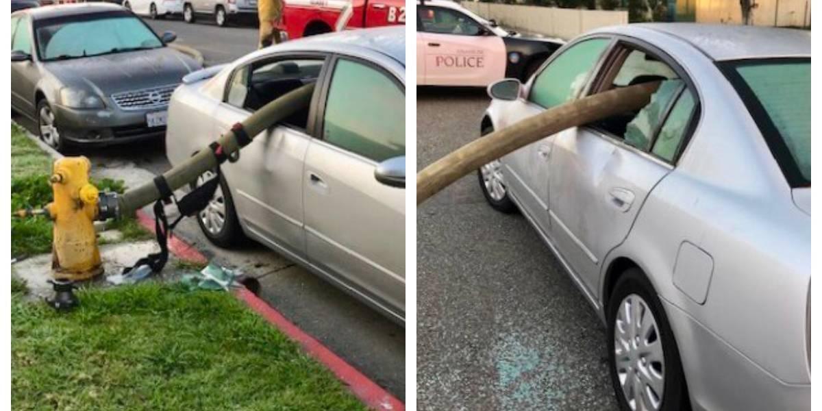 Estacionou em frente a um hidrante, houve um incêndio, e os bombeiros lhe deram uma 'lição' que ele nunca esquecerá