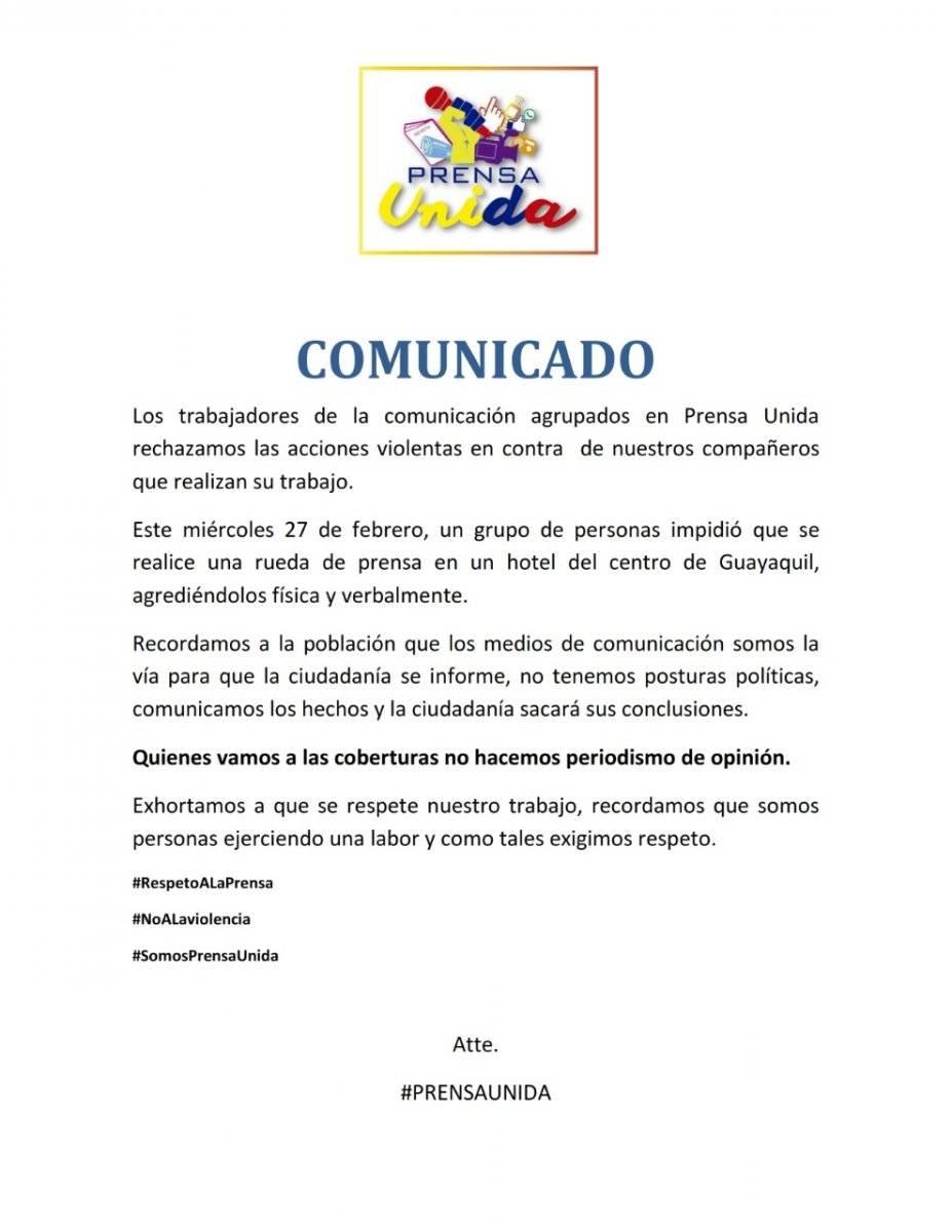 Comunicado Prensa Unida sobre agresiones a periodistas en Guayaquil