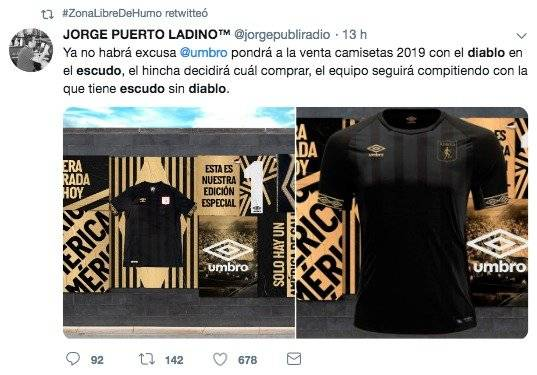 Falsa noticia camiseta der América