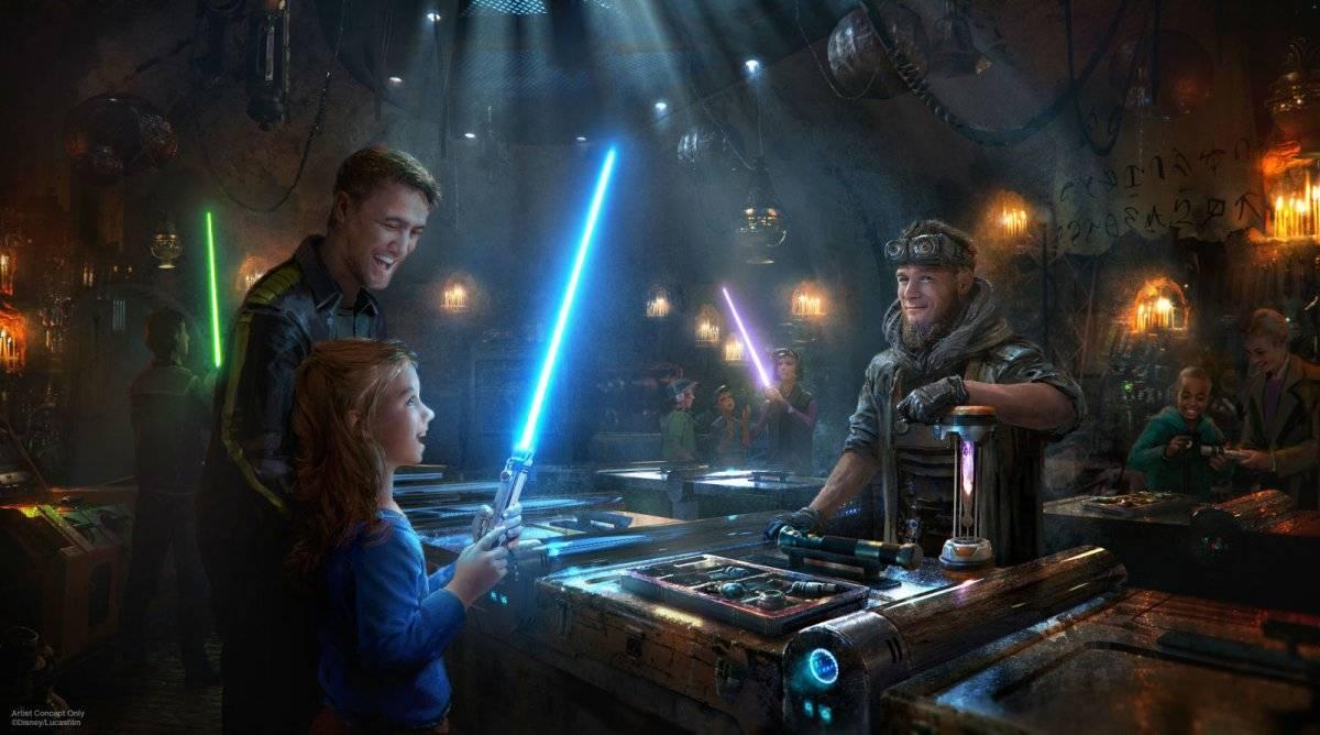 Arte de conceito, com sabres de luz Reprodução: Disney Parks