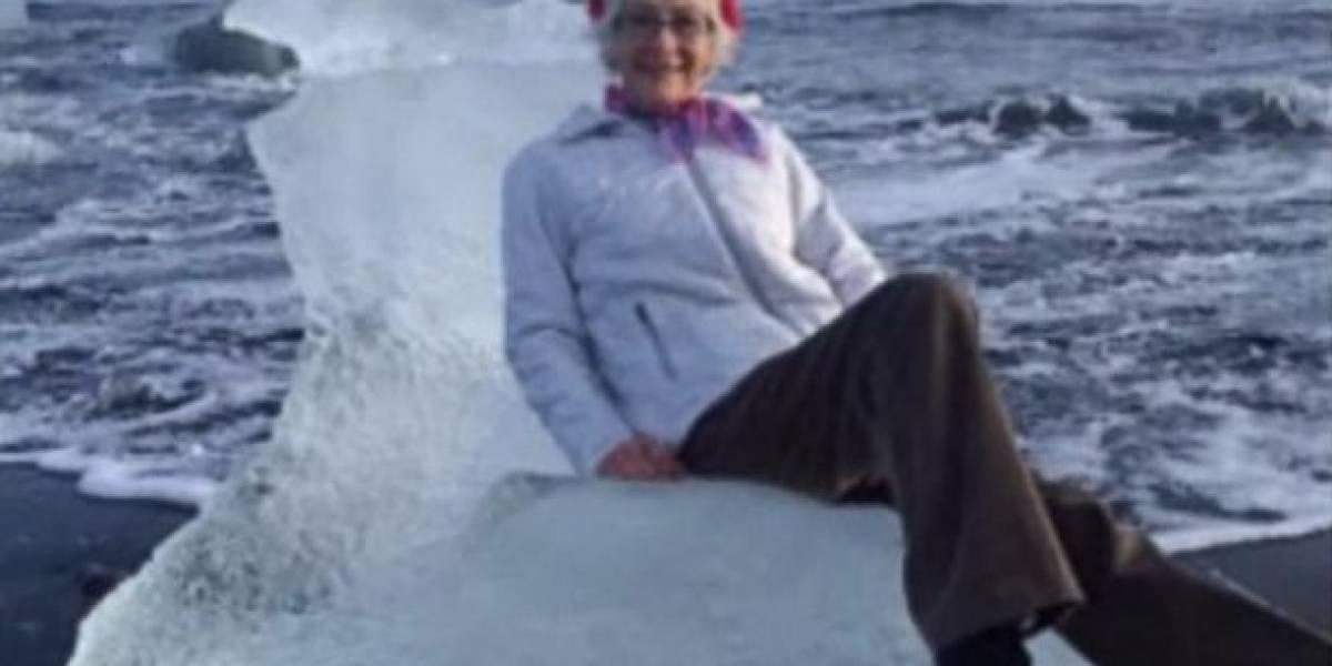 Abuela aventurera flotó hacia el mar en un trono de hielo