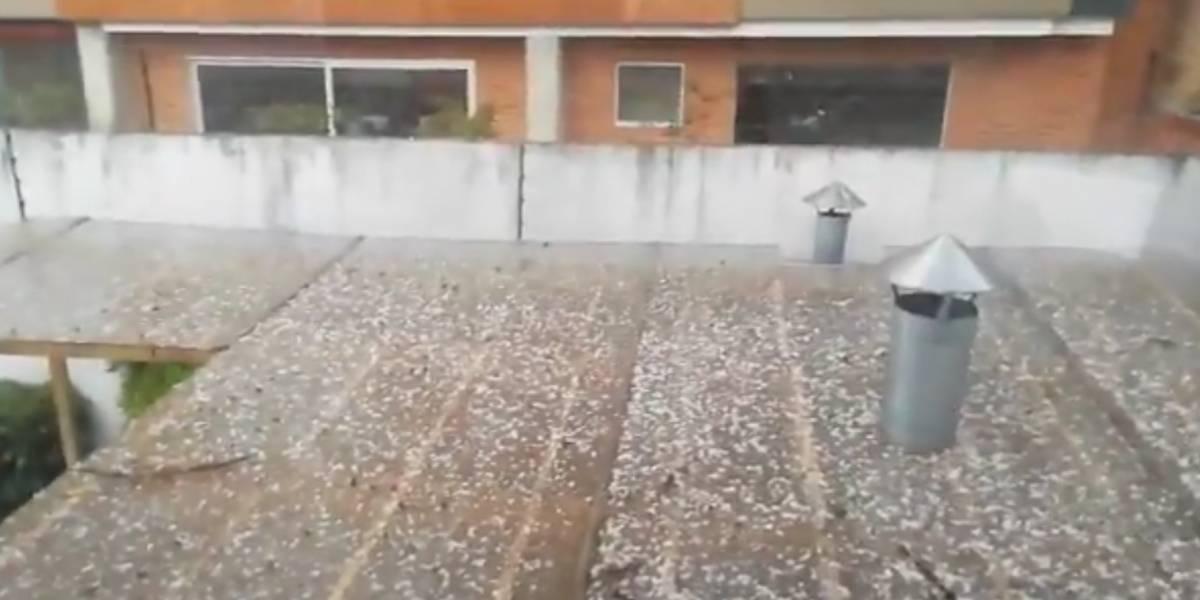 En imágenes: Fuerte lluvia acompañada de granizo en Bogotá