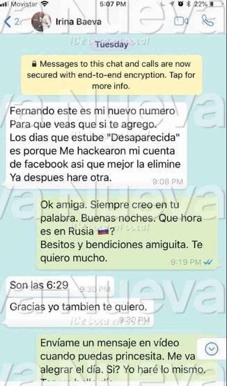 Irina Baeva mensaje Fernando Carrillo