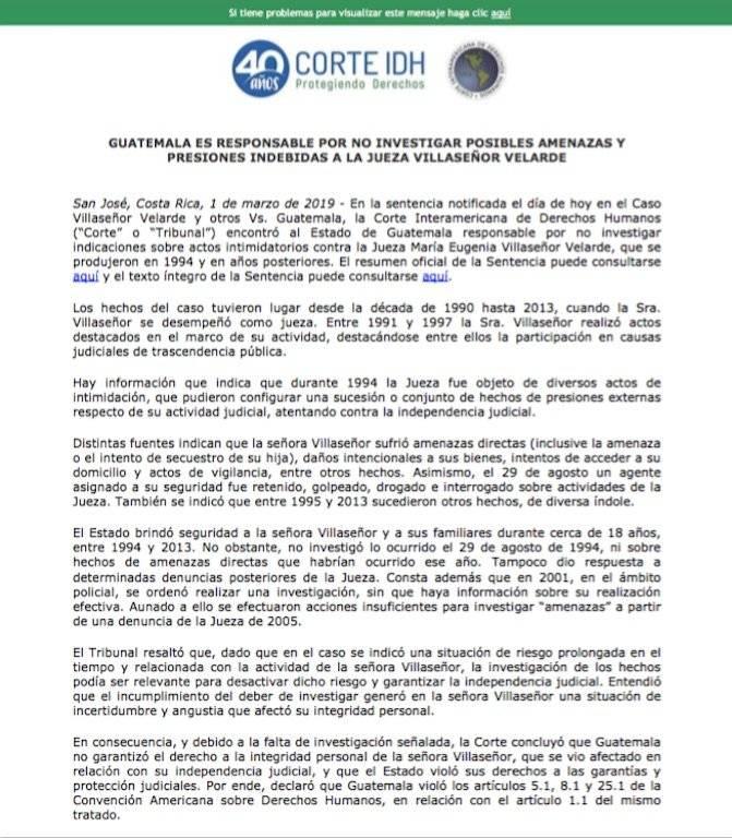 CorteIDH declara a Guatemala como responsable de no investigar amenazas contra jueza. Foto: CorteIDH