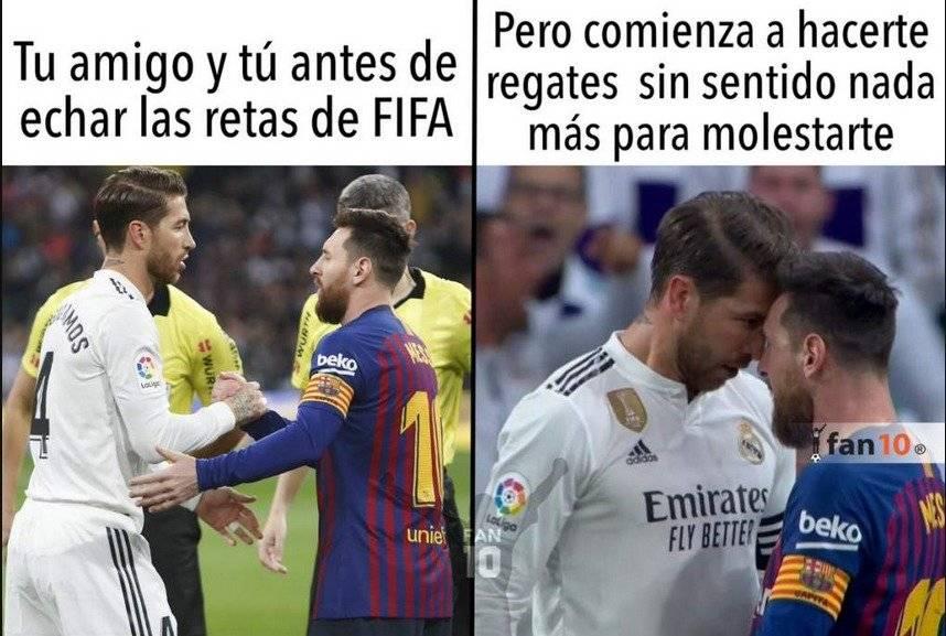 La agresión de Ramos a Messi dio mucho de qué hablar. Twitter