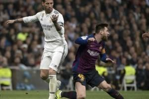 Cara a cara de Messi y Ramos