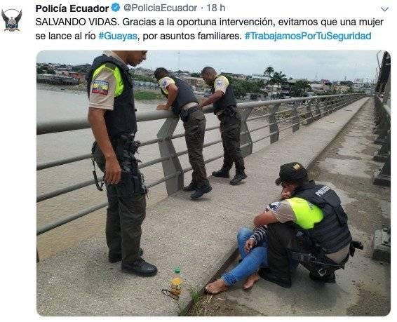 Mujer intentó lanzarse al río Guayas