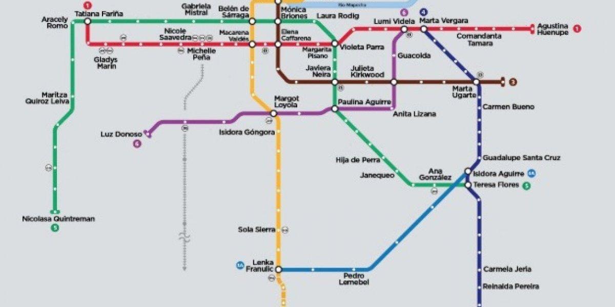 """""""Siguiente parada, estación Hija de Perra"""": el cambio de nombre en el Metro de Santiago que desató polémica tras comentada intervención feminista"""