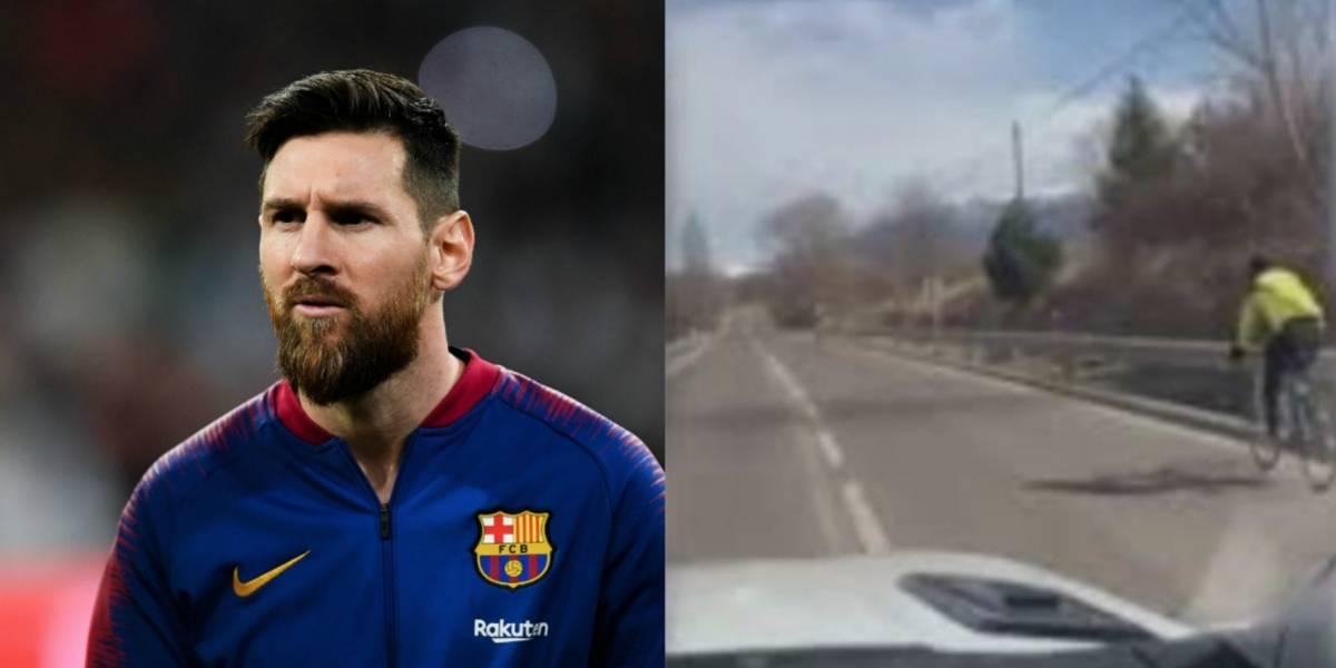 ¡Ejemplar! Messi muestra como un conductor debe tratar a un ciclista