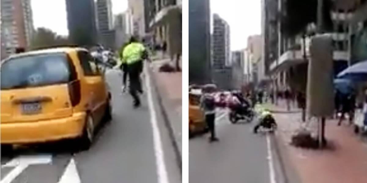 VIDEO: la tremenda caída de un policía en medio de una persecución en Bogotá
