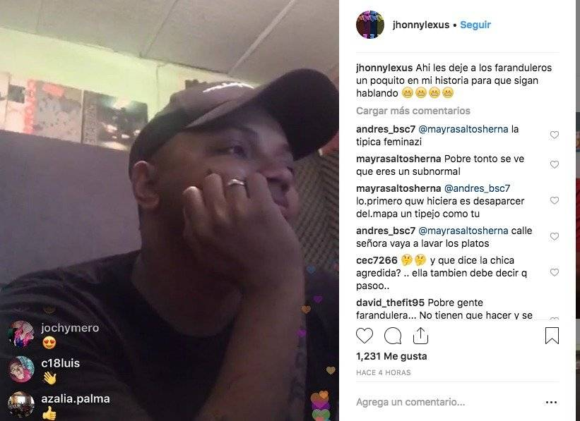 Mensaje de Jhonny Lexus en Instagram