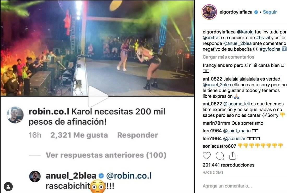 Anuel AA arremete contra un fan por su novia Karol G