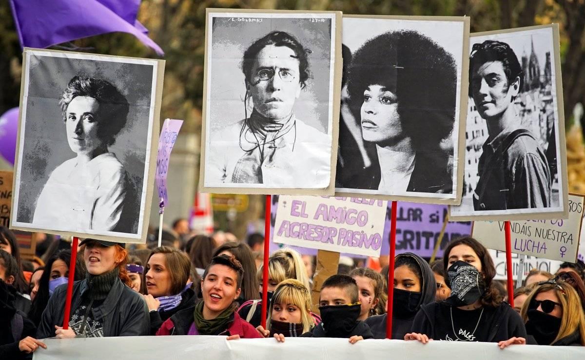 Em Madrid, Espanha, mulheres participam de um protesto nacional no Dia da Mulher REUTERS/Juan Medina