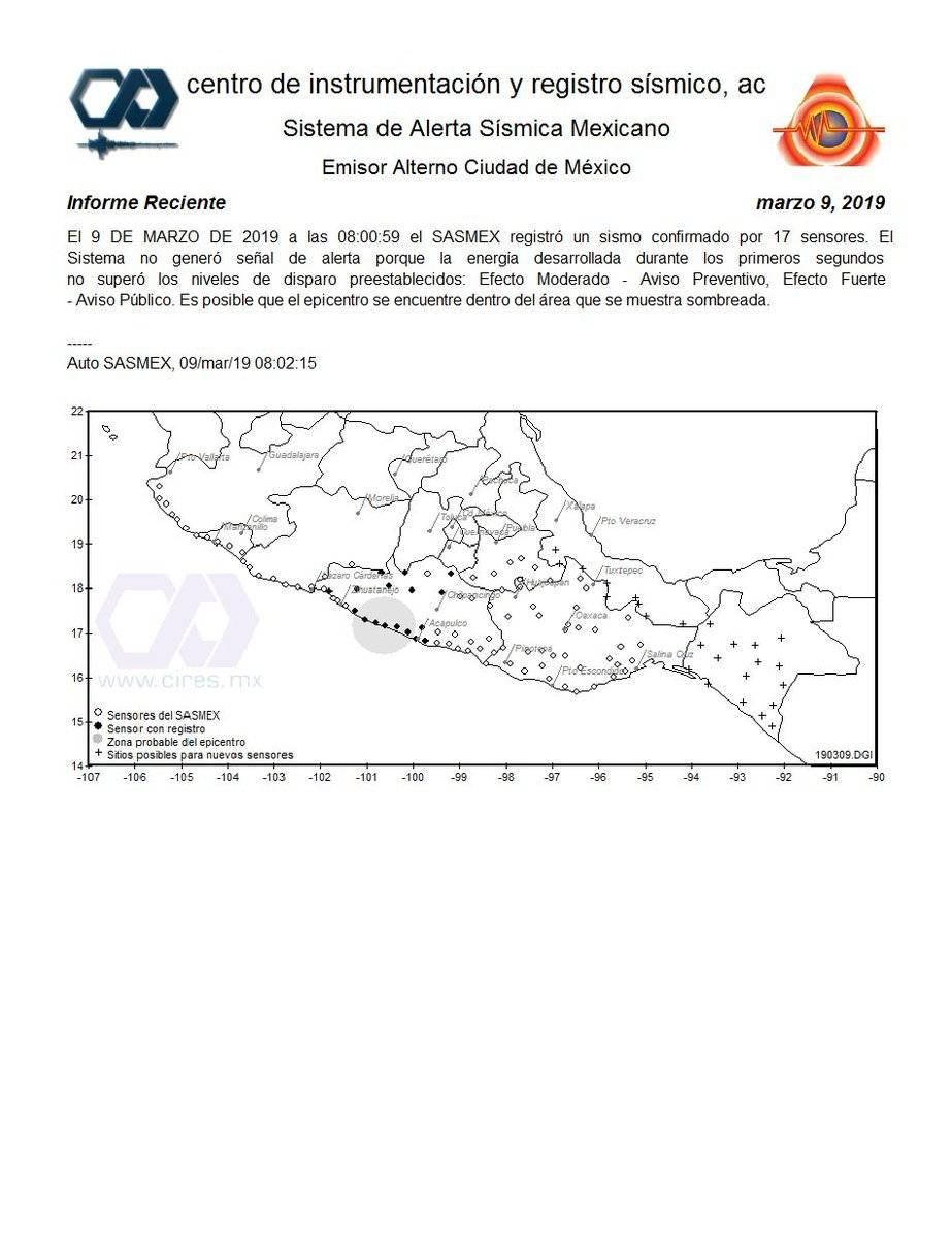 Sismo epicentro en Guerrero