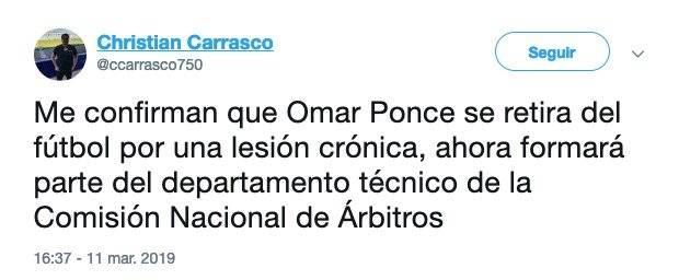 Omar Ponce se retira