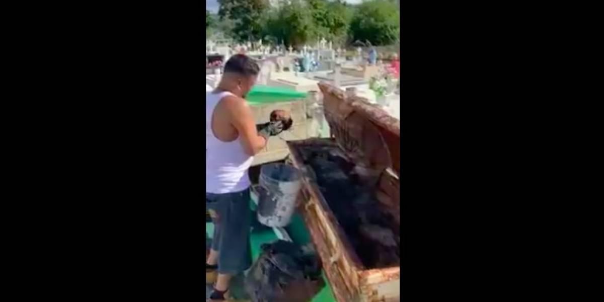 Hombre exhumaba huesos de su hijo cuando tembló en Puerto Rico