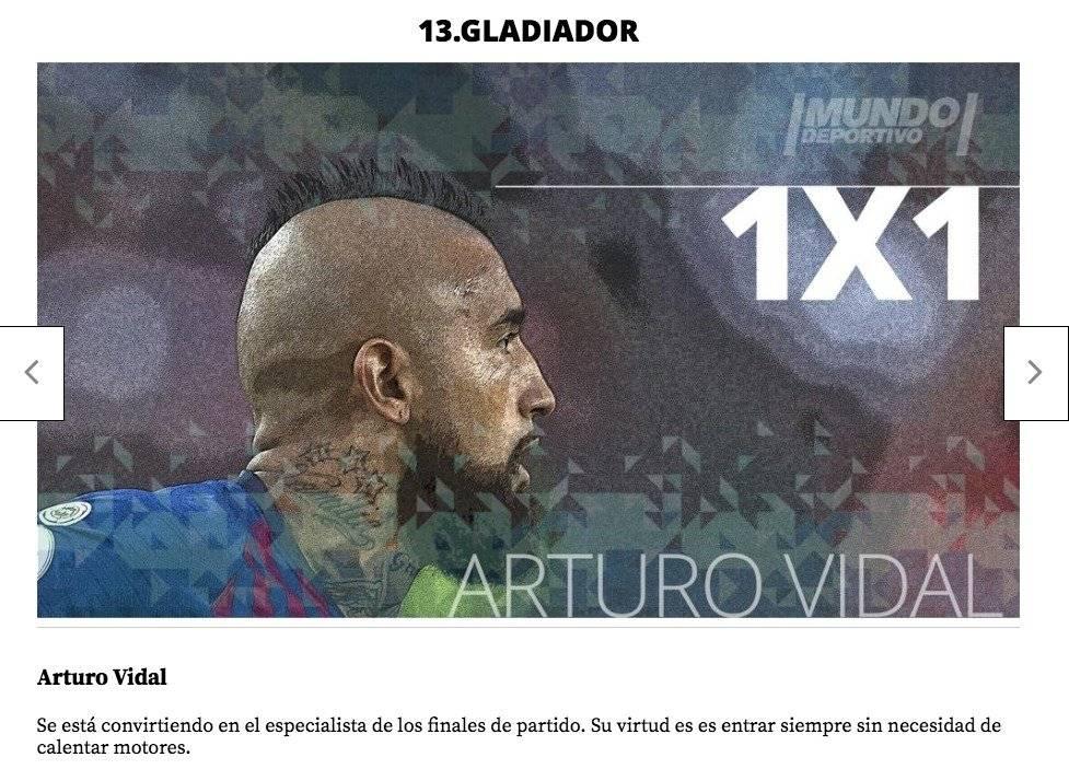 Mundo Deportivo también tuvo palabras para el rendimiento de Vidal /Imagen: Sitio web Mundo Deportivo