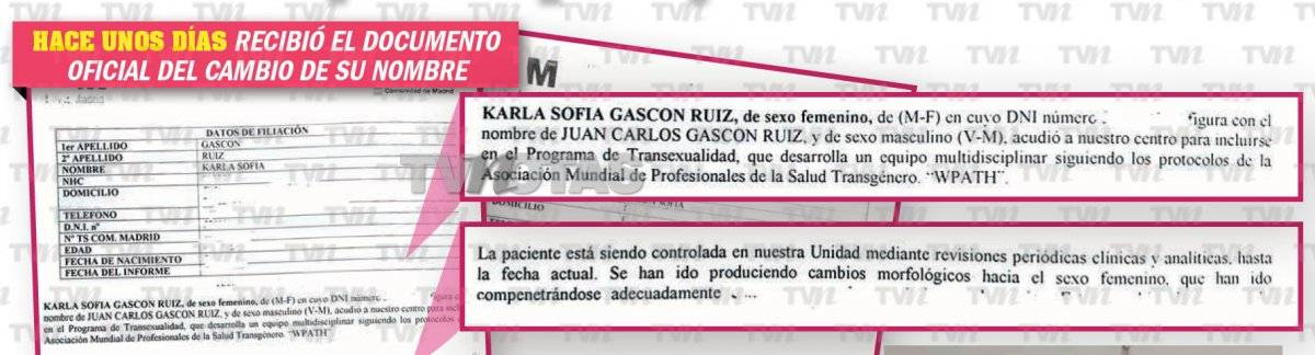Documentos Karla Sofía como mujer