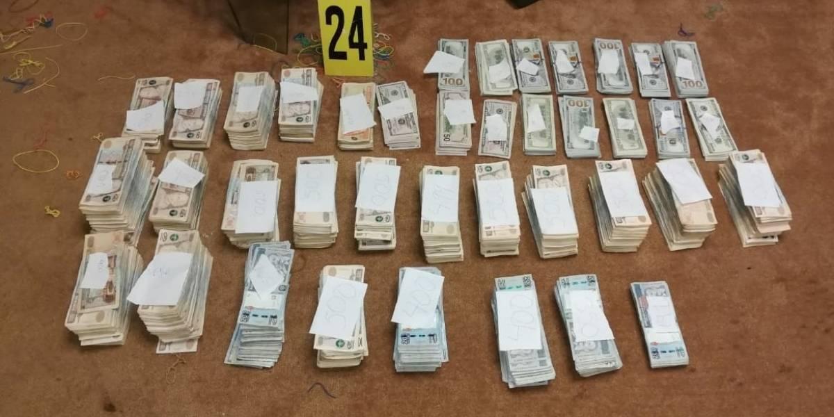 Fuerzas de seguridad decomisan Q2 millones y $494 mil en vivienda en Mixco
