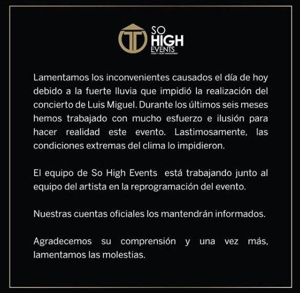 Suspensión de concierto de Luis Miguel en Ecuador