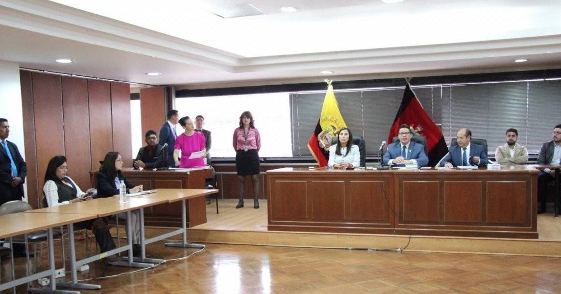 Audiencia de juzgamiento contra Diana Falcón y Raúl Chicaiza
