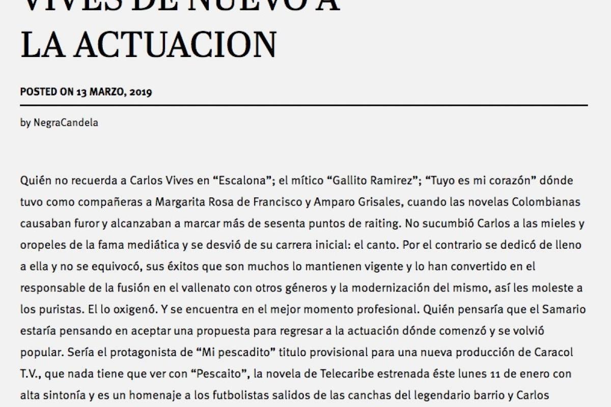 ¿Carlos Vives regresaría a la televisión? Pasaelchisme.com