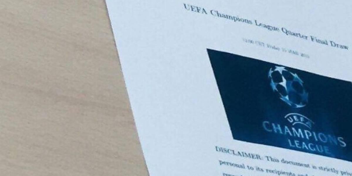 Filtran documento de cómo quedarán los cuartos de Champions League