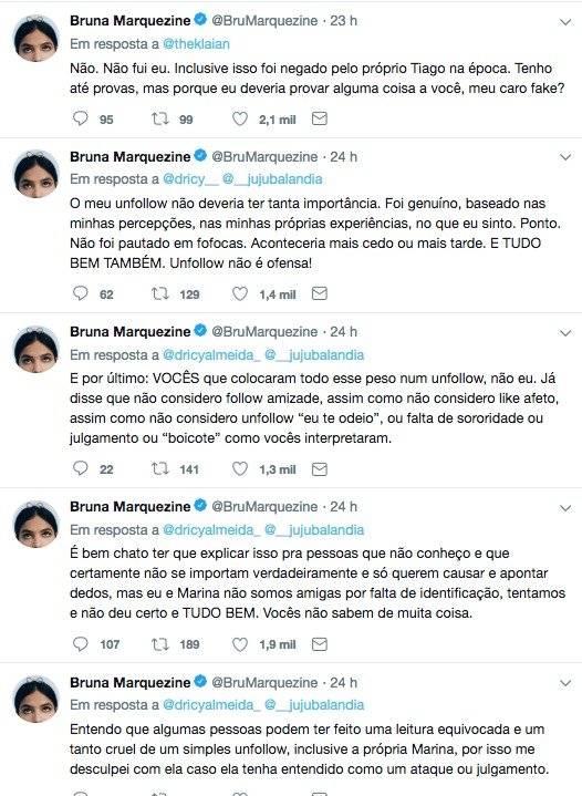 Bruna Marquezine fala sobre Marina Ruy Barbosa