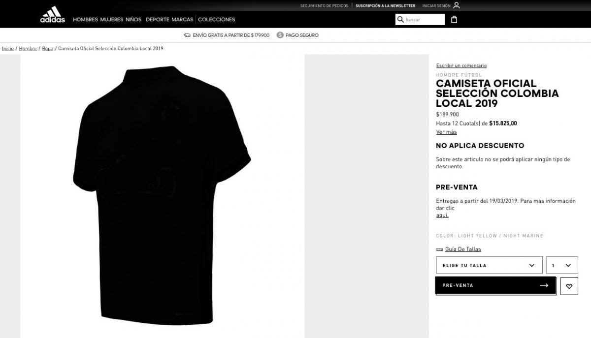 Preventa de camiseta Colombia 2019, adidas