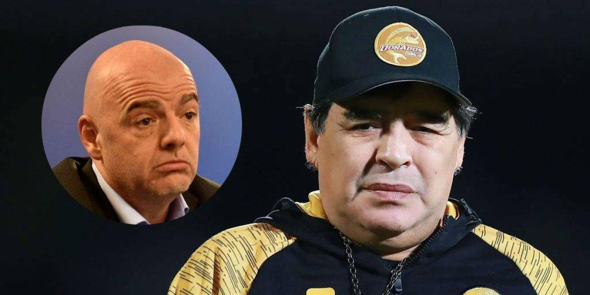 El futbol es otra cosa, no es el Super Bowl: Maradona a Infantino