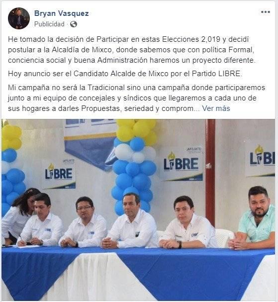 Byron Vásquez busca ser electo alcalde de Mixco con el partido Libre.