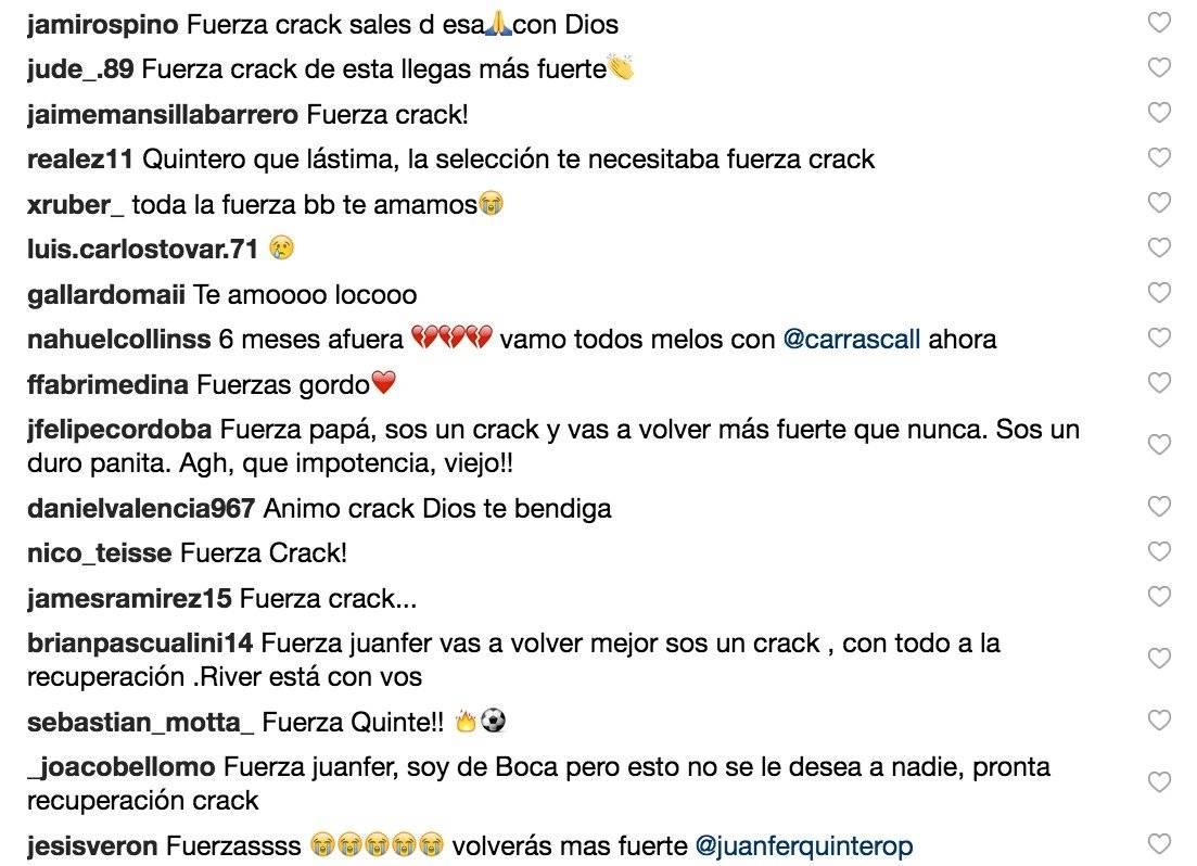 4. Mensajes de apoyo a Juan Fernando Quintero