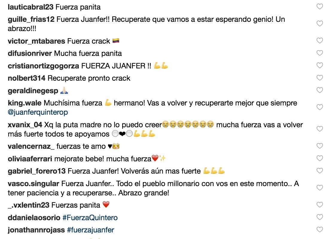 3. Mensajes de apoyo a Juan Fernando Quintero