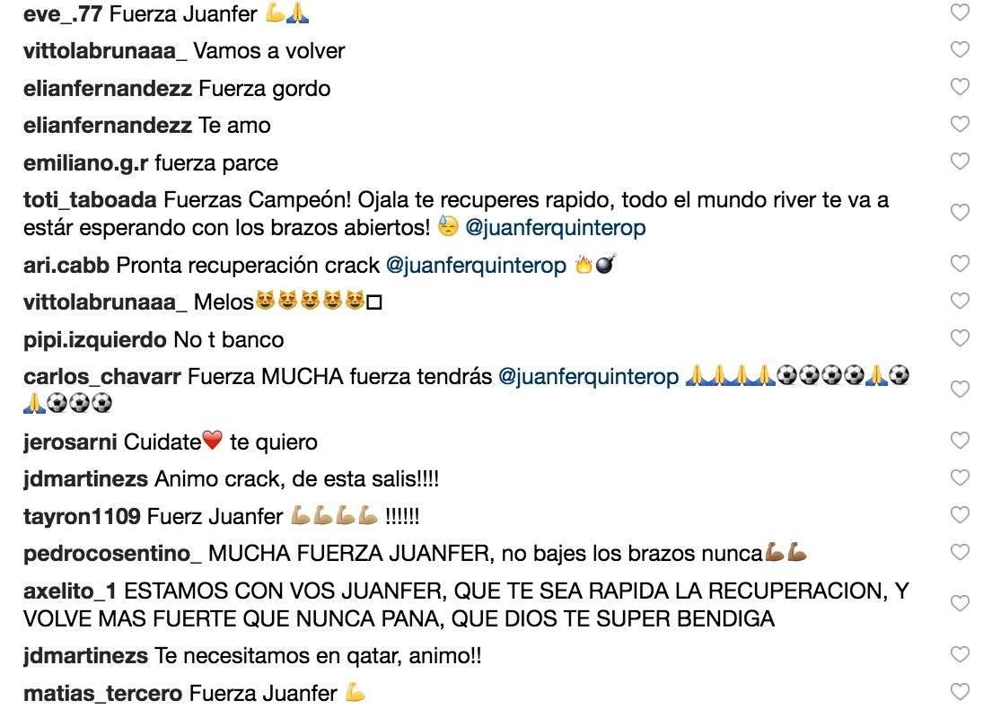 2. Mensajes de apoyo a Juan Fernando Quintero