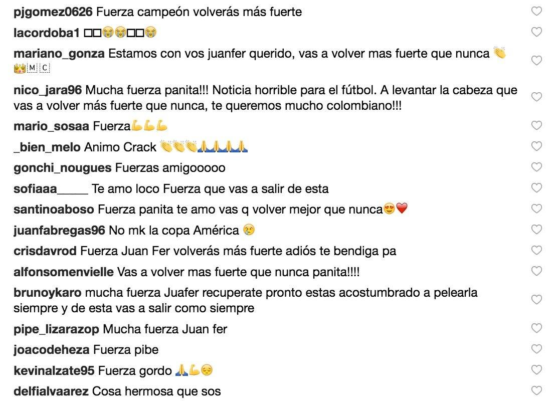 1. Mensajes de apoyo a Juan Fernando Quintero